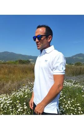 Polo coton, boutonnière contrasté, broderie poitrine et manche gauche